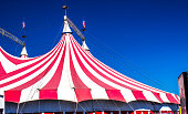 Top Of Red & White Striped Big Top Circus Tent