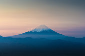 Top of Mt. Fuji with sunrise sky in spring season