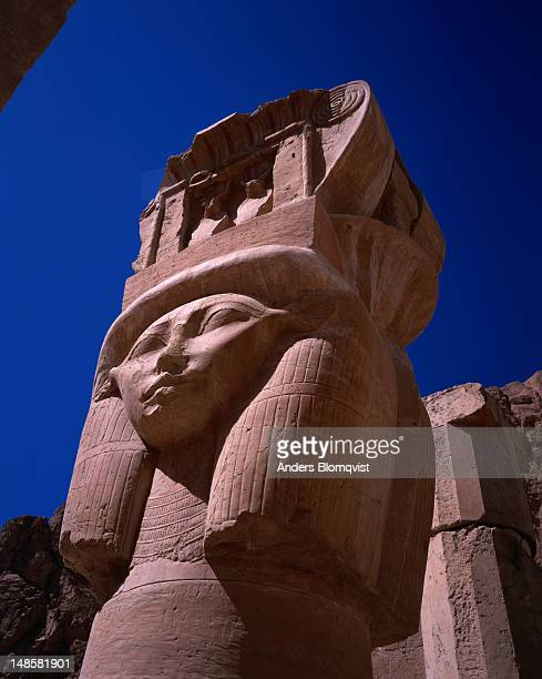 Top of pillar with face of Queen Hatshepsut at Hathor Chapel, Deir al-Bahri, ancient Thebes.