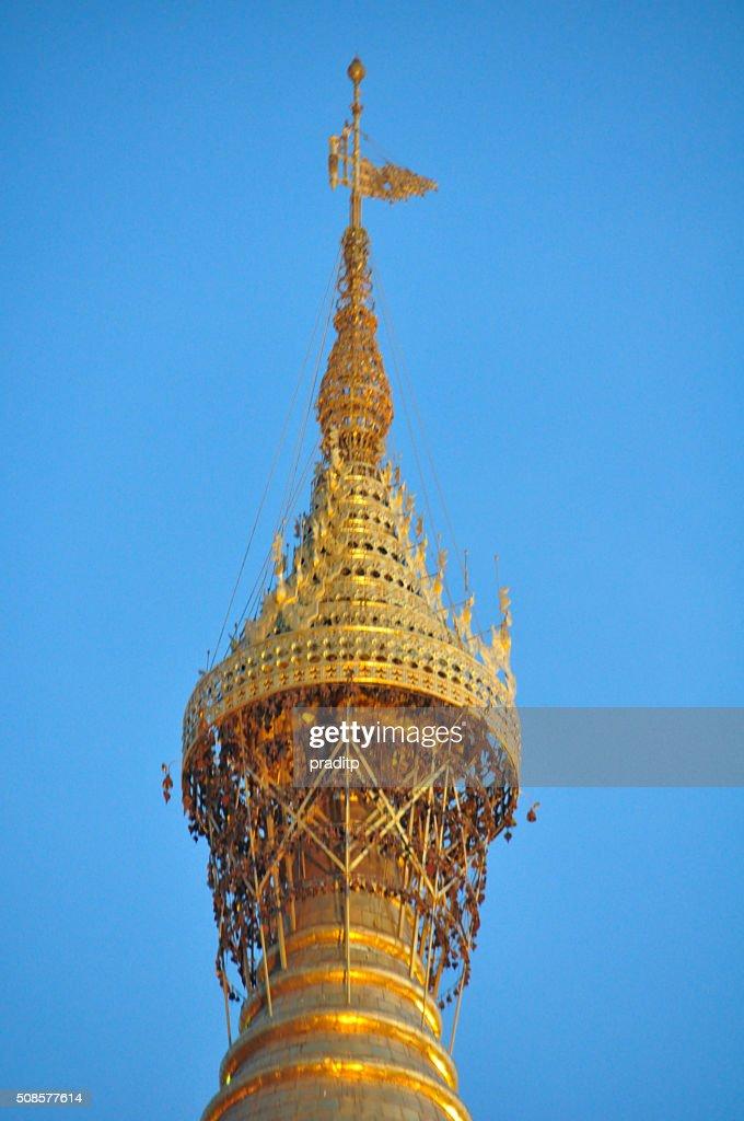 Top of Shwedagon pagoda in Yangon at night,Myanmar : Stock Photo