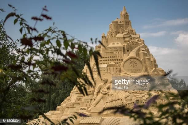 A top of the Sandburg sandcastle is seen on September 1 2017 in Duisburg Germany A local travel agency commissioned the building of the sandcastle...