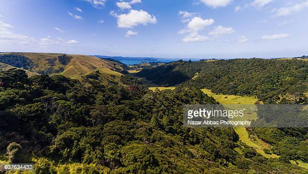 Top Panoramic view of Manukau Heads, Manukau, New Zealand.