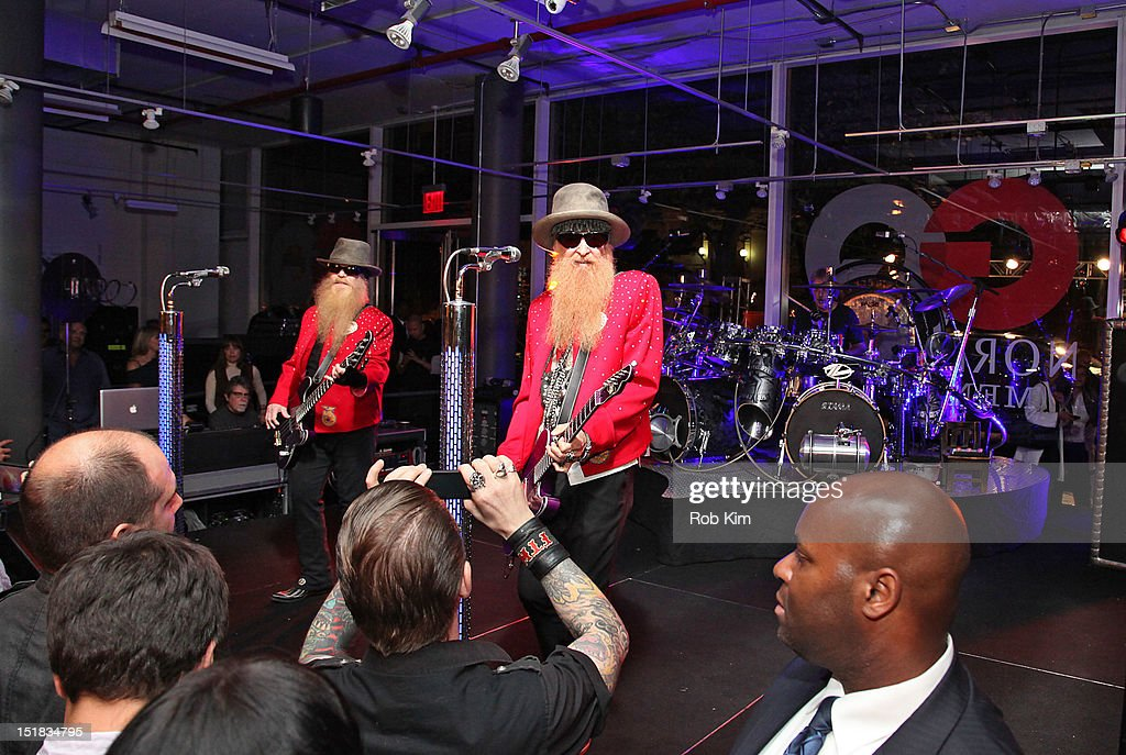 ZZ Top performs at GQ, Chrysler, And John Varvatos Celebrate The Launch Of The 2013 Chrysler 300C on September 11, 2012 in New York City.