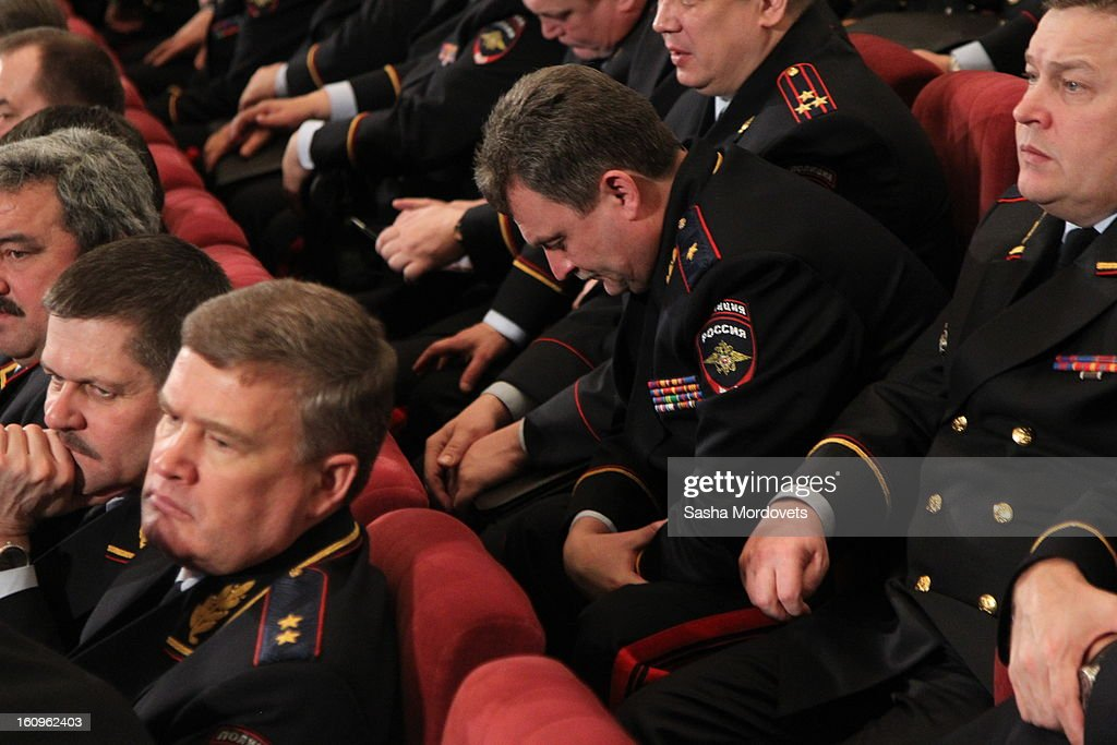 Top policemen and officers of Russian Interior Ministry await the arrival of Russian President Vladimir Putin on February 8, 2013 in Moscow, Russia. Putin 's meeting comes in the wake of him firing of top Russian Olympic official, Akhmed Bilalov, over incomplete venues for the 2014 Winter Games in Sochi.