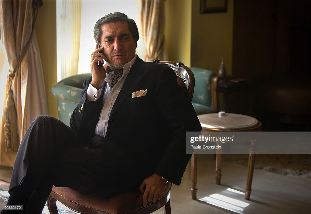 Top presidential challenger <a gi-track='captionPersonalityLinkClicked' href=/galleries/search?phrase=Abdullah+Abdullah&family=editorial&specificpeople=695346 ng-click='$event.stopPropagation()'>Abdullah Abdullah</a> talks on the phone inside his Kabul home October 25, 2009 in Kabul, Afghanistan. <a gi-track='captionPersonalityLinkClicked' href=/galleries/search?phrase=Abdullah+Abdullah&family=editorial&specificpeople=695346 ng-click='$event.stopPropagation()'>Abdullah Abdullah</a> and President Hamid Karzai will be facing each other in the November 7th run-off election. Despite rumors of a power-sharing deal to avoid a second vote President Karzai has stated that a run-off presidential election must be held as planned next month so that the country moves forward as a democratic nation.