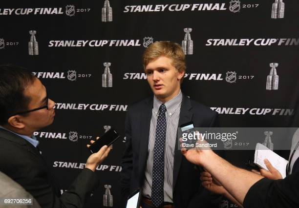 Top prospect Casey Mittelstadt speaks to the media during media availability for 2017 NHL draft prospects prior to Game Four of the 2017 NHL Stanley...
