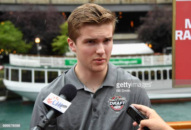 Top prospect Michael Rasmussen talks with members of the media during the 2017 NHL Draft top prospects media availabilty on the Bright Star Boat on...