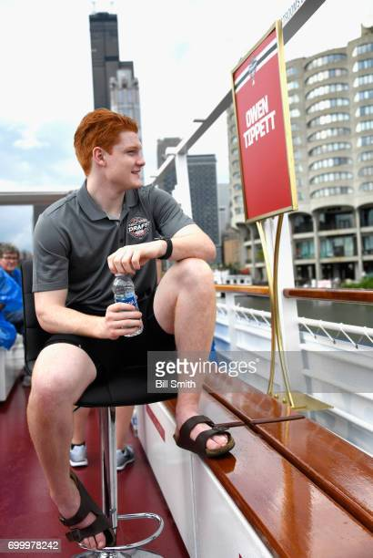 Top prospect Owen Tippett enjoys the ride on the Bright Star Boat during the 2017 NHL Draft top prospects media availabilty on the Chicago River on...
