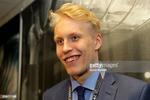 Top Prospect Patrik Laine speaks during media availability for the 2016 NHL Draft Top Prospects prior to Game Four of the 2016 NHL Stanley Cup Final...