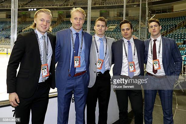 Top Prospects Alexander Nylander Patrik Laine Matthew Tkachuk Auston Matthews and PierreLuc Dubois pose prior media availability for the 2016 NHL...