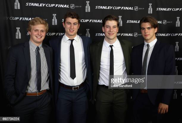 Top prospects Casey Mittelstadt Gabriel Vilardi Nolan Patrick and Nico Hischier pose together at the media availability for 2017 NHL draft prospects...