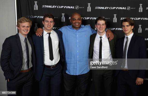 Top prospects Casey Mittelstadt Gabriel Vilardi Nolan Patrick and Nico Hischier pose with Charles Barkley at the media availability for 2017 NHL...