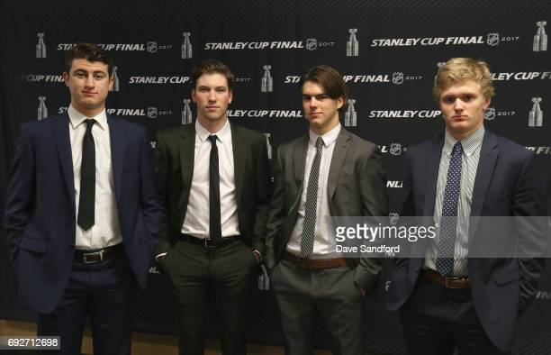 Top prospects Gabriel Vilardi Nolan Patrick Nico Hischier and Casey Mittelstadt pose together at the media availability for 2017 NHL draft prospects...
