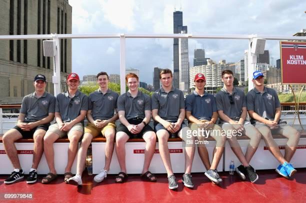 Top prospects Nolan Patrick Casey Mittelstadt Cody Glass Owen Tippett Michael Rasmussen Nico Hischier Gabriel Vilardi and Klim Kostin attend the 2017...