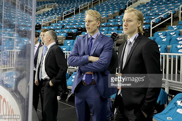Top Prospects Patrik Laine and Alexander Nylander talk prior to media availability for the 2016 NHL Draft Top Prospects ahead of Game Four of the...