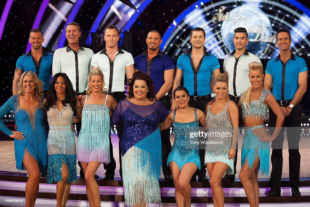 Top row, Artem Chigvintsev, Phil Tufnell, James Jordan, Robin Windsor, Pasha Kovalev, Louis Smith and Michael Vaughan Front Row, Fern Britton, Karen Hauer, Denise Van Outen, Lisa Rilley, Dani Harmer and Ola Jordan and Natalie Lowe attends a photocall ahead of the Strictly Come Dancing Live Tour at NIA Arena on January 17, 2013 in Birmingham, England.