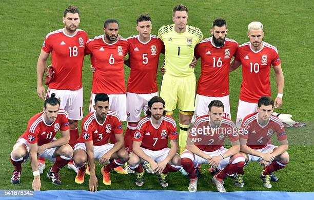 Wales' forward Sam Vokes Wales' defender Ashley Williams Wales' defender James Chester Wales' goalkeeper Wayne Hennessey Wales' midfielder Joe Ledley...