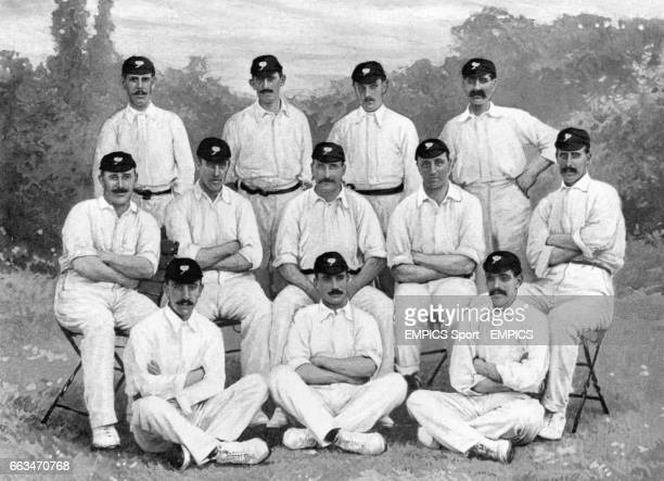 Top row left to right Ted Wainwright Lees Whitehead Wilfred Rhodes David Hunter Middle row left to right George Hirst Ernest Smith Lord Hawke Frank...