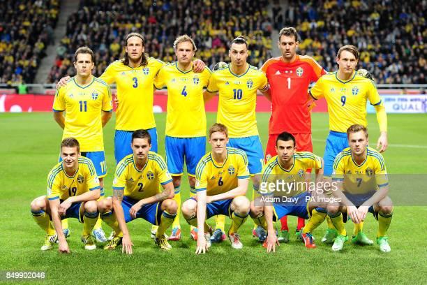 Tobias Hysen Jonas Olsson Andreas Granqvist Zlatan Ibrahimovic Goalkeeper Andreas Isaksson Kim Kallstrom Bottom Row Alexander Kacaniklic Mikael...