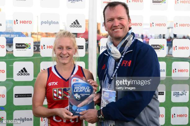 Top Scocer Jill Witmer of United States of America receives her award from Jason McCracken FIH Chief Executive during day 9 of the FIH Hockey World...