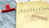 Top secret document, stamp, declassified, confidential information, secret text. Non-public information. Sheet of paper with classified information. State Secret. 3d rendering