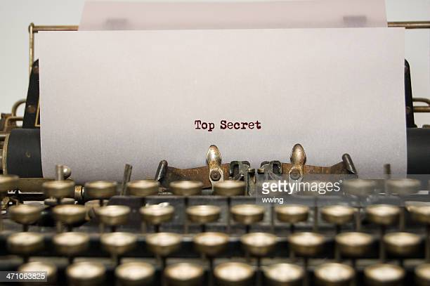 Alto secreto de antigüedades de máquina de escribir