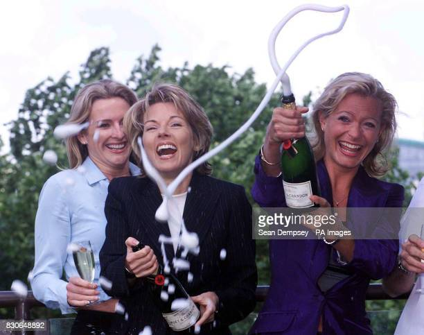 Top telly stars Gabby Yorath Mary Nightingale and Tracy Shaw celebrate the launch of ITV Digital in London Wednesday July 11 2001 The service is...