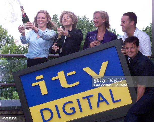 Top telly stars Gabby Yorath Mary Nightingale Tracy Shaw and Ant and Dec celebrate the launch of ITV Digital in London The service is jointly owned...