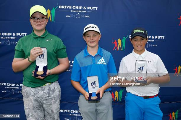 Top three finishers in the boys 1213 years division Conrad Chisman Rex Wilson and Lucas Paul pose for a photo after the Drive Chip and Putt Western...