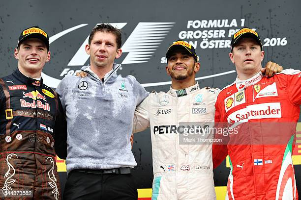Top three finishers Lewis Hamilton of Great Britain and Mercedes GP Max Verstappen of Netherlands and Red Bull Racing and Kimi Raikkonen of Finland...