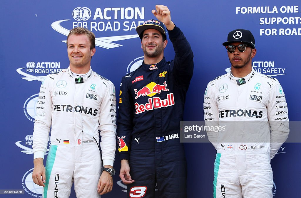 Top three qualifiers Daniel Ricciardo of Australia and Red Bull Racing Nico Rosberg of Germany and Mercedes GP and Lewis Hamilton of Great Britain...