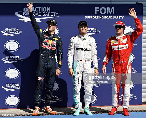 Top three qualifiers Nico Rosberg of Germany and Mercedes GP Max Verstappen of Netherlands and Red Bull Racing and Kimi Raikkonen of Finland and...
