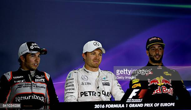Top three qualifiers Nico Rosberg of Germany and Mercedes GP Sergio Perez of Mexico and Force India and Daniel Ricciardo of Australia and Red Bull...