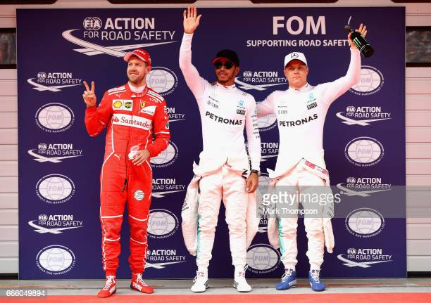 Top three qualifiersLewis Hamilton of Great Britain and Mercedes GP Sebastian Vettel of Germany and Ferrari and Valtteri Bottas of Finland and...