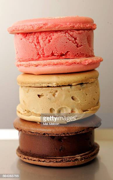 Top to bottom–strawberry sorbet coffee–toffee and chocolate chocolate chip ice cream sandwiches photogaphed at Milk ice cream shop on Beverly Blvd in...