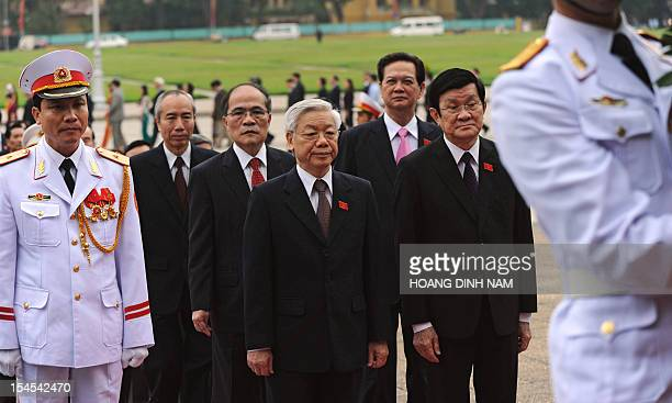 Top Vietnamese leaders Nguyen Phu Trong communist party secretary general Truong Tan Sang president Nguyen Sinh Hung National Assembly chairman and...