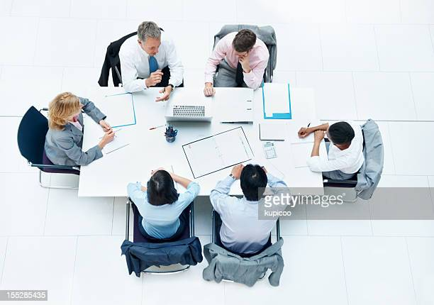 Top view business objectives discussion conference