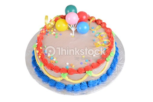 Top View Chocolate Birthday Cake Stock Photo