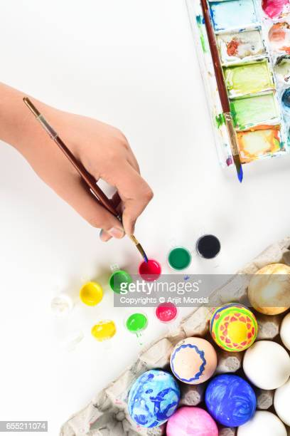 Top View Easter Holidays Preparation Picture with Easter Eggs, Paintbrush