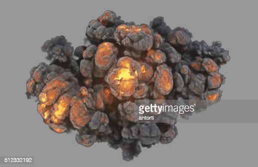 Top view explosion with clipping path