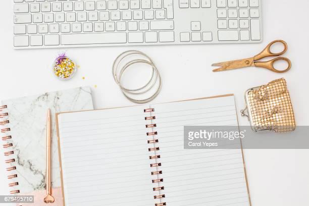 top view feminine  golden computer desk