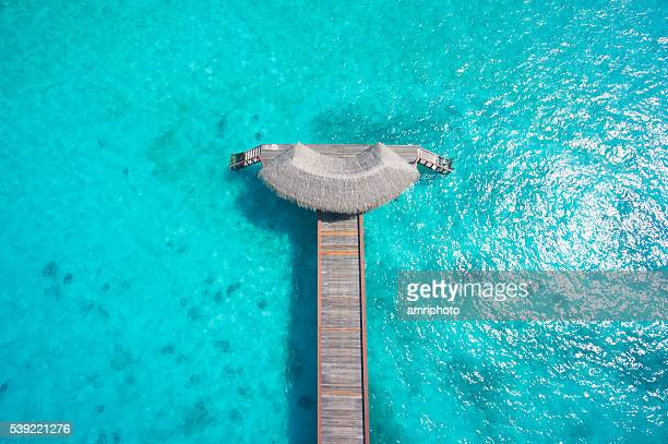 top view jetty in indian ocean