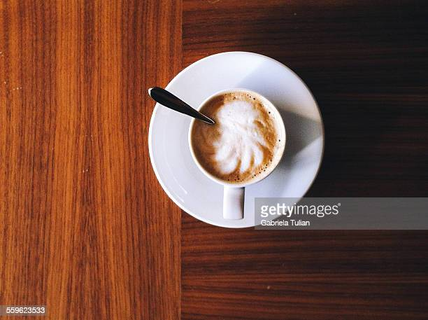 Top view of a cup of cappuccino