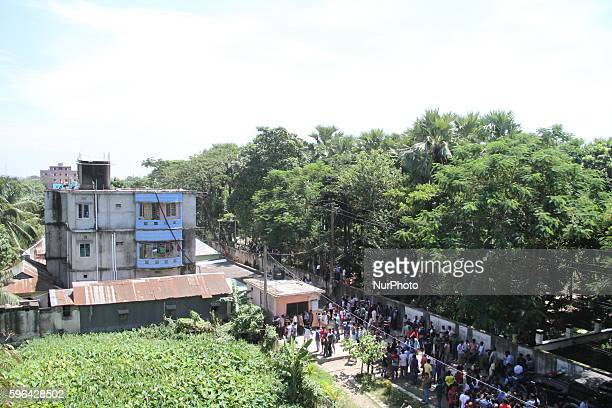 Top view of a home where three suspected militants have been killed during a gunfight at a militant hideout in Narayanganj outskirts of Dhaka...