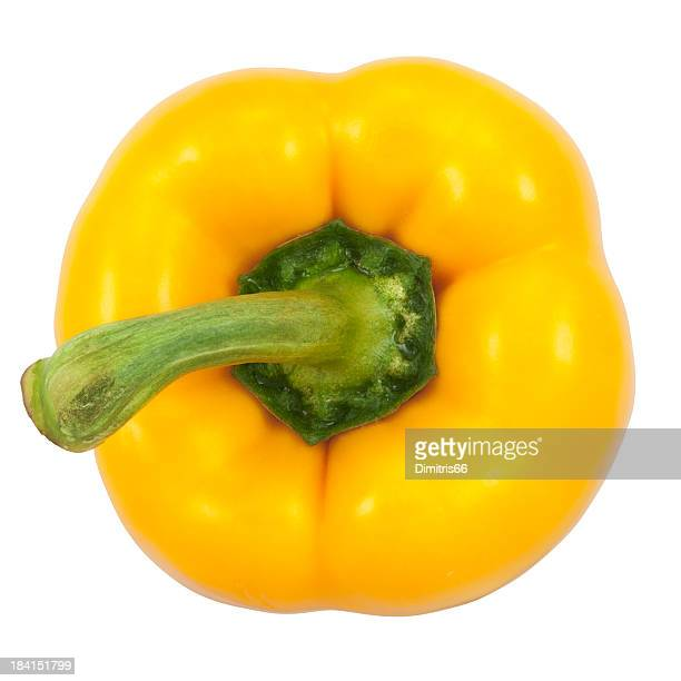 Top view of a yellow bell pepper with green stem