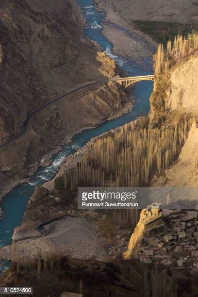 Top view of Altit fort in Hunza valley in a morning , Gilgit Baltistan, Pakistan