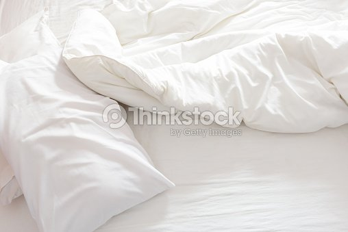 Top View Of An Unmade Bed With Crumpled Bed Sheet Stock ...