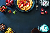 Food frame of gourmet breakfast with space for text.