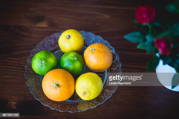 Top view of citrus on a plate