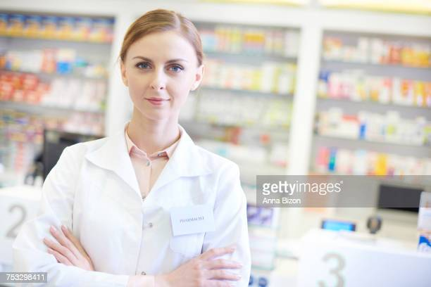 Top view of confident pharmacist in drugstore. Rzeszow, Poland